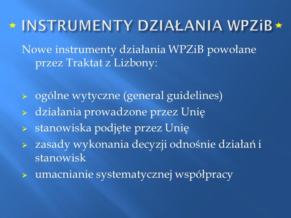 Nowe instrumenty działania WPZiB powołane przez Traktat z Lizbony:  ogólne wytyczne (general guidelines)  działania prowadzone przez Unię  stanowis