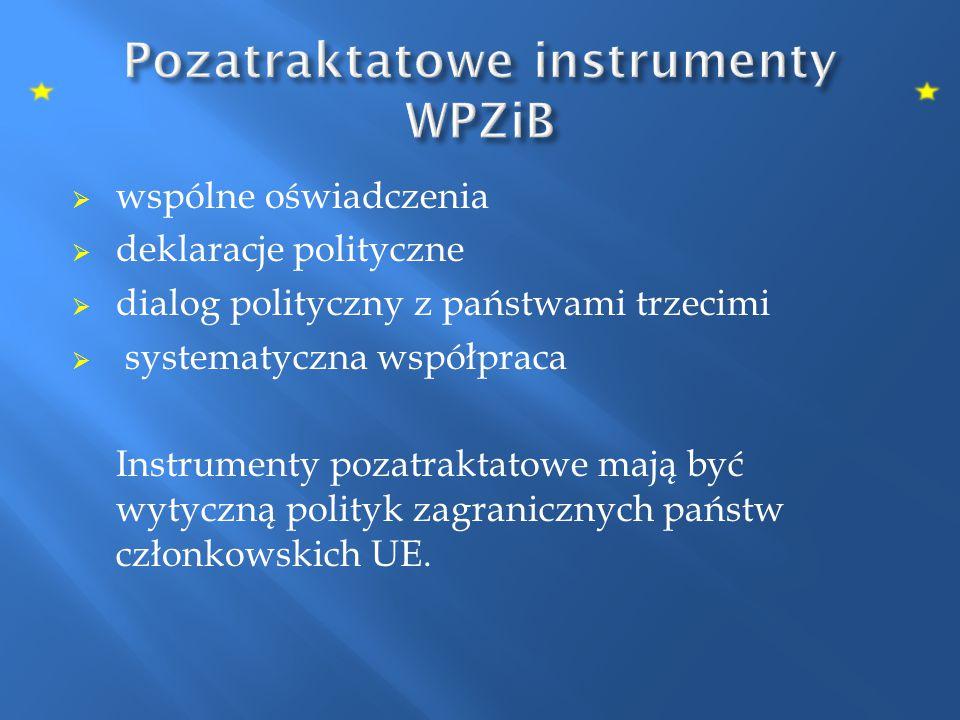  wspólne oświadczenia  deklaracje polityczne  dialog polityczny z państwami trzecimi  systematyczna współpraca Instrumenty pozatraktatowe mają być