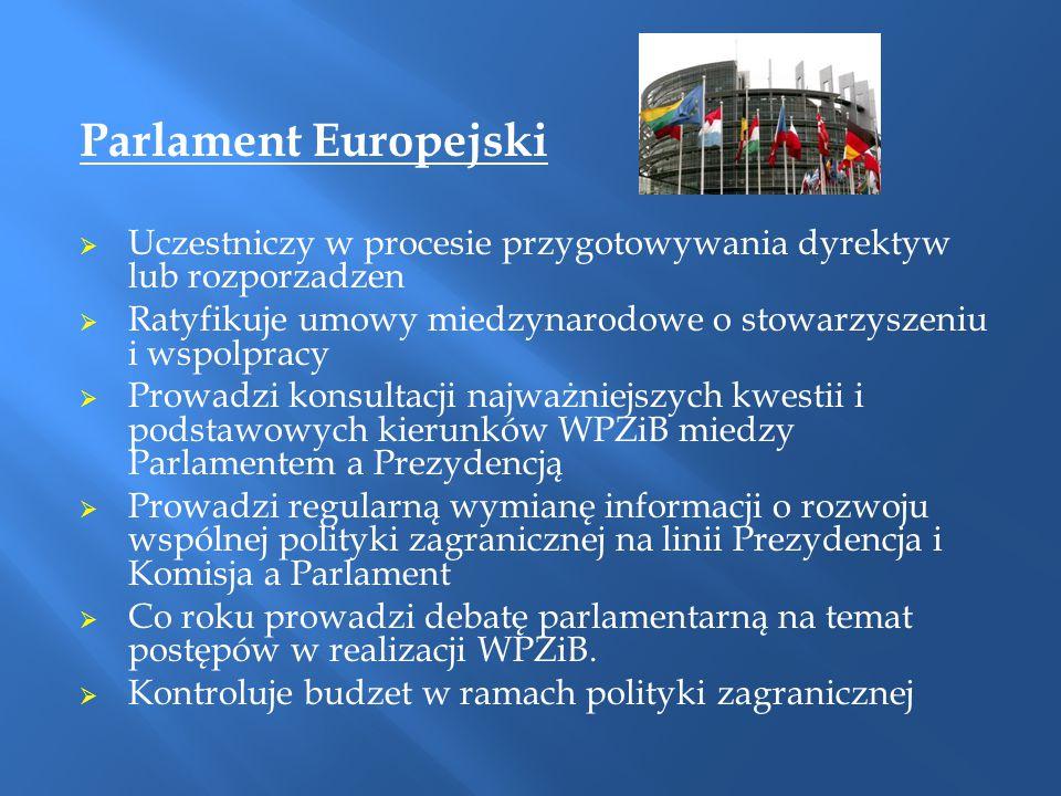 Parlament Europejski  Uczestniczy w procesie przygotowywania dyrektyw lub rozporzadzen  Ratyfikuje umowy miedzynarodowe o stowarzyszeniu i wspolprac