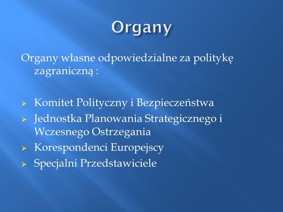 Organy własne odpowiedzialne za politykę zagraniczną :  Komitet Polityczny i Bezpieczeństwa  Jednostka Planowania Strategicznego i Wczesnego Ostrzeg