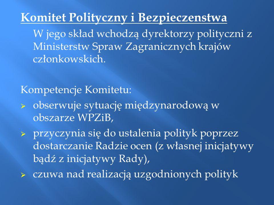 Komitet Polityczny i Bezpieczenstwa W jego skład wchodzą dyrektorzy polityczni z Ministerstw Spraw Zagranicznych krajów członkowskich. Kompetencje Kom