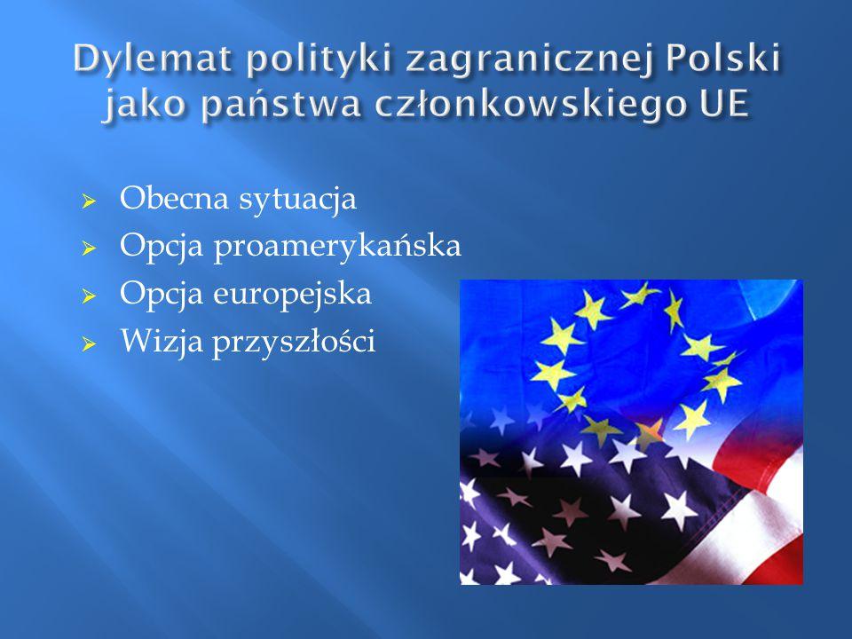  Obecna sytuacja  Opcja proamerykańska  Opcja europejska  Wizja przyszłości
