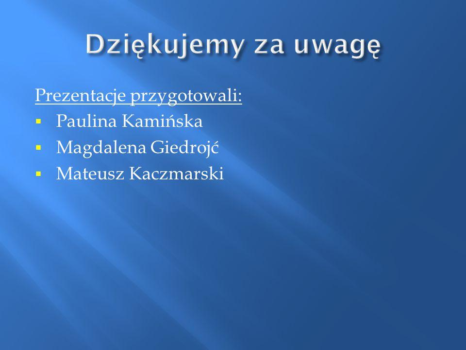 Prezentacje przygotowali:  Paulina Kamińska  Magdalena Giedrojć  Mateusz Kaczmarski