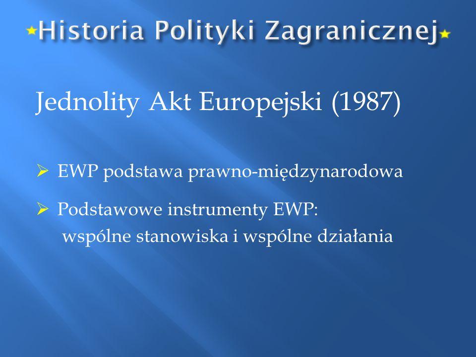 Jednolity Akt Europejski (1987)  EWP podstawa prawno-międzynarodowa  Podstawowe instrumenty EWP: wspólne stanowiska i wspólne działania
