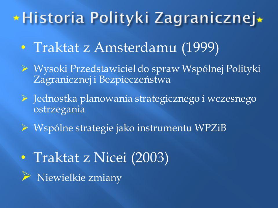 Traktat z Amsterdamu (1999)  Wysoki Przedstawiciel do spraw Wspólnej Polityki Zagranicznej i Bezpieczeństwa  Jednostka planowania strategicznego i w