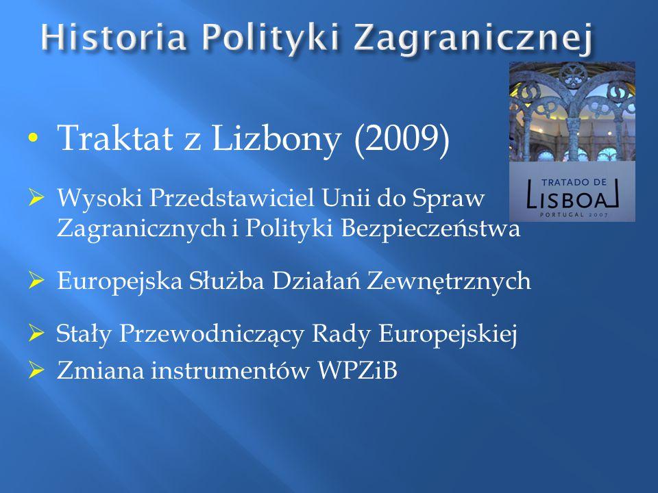 Traktat z Lizbony (2009)  Wysoki Przedstawiciel Unii do Spraw Zagranicznych i Polityki Bezpieczeństwa  Europejska Służba Działań Zewnętrznych  Stał