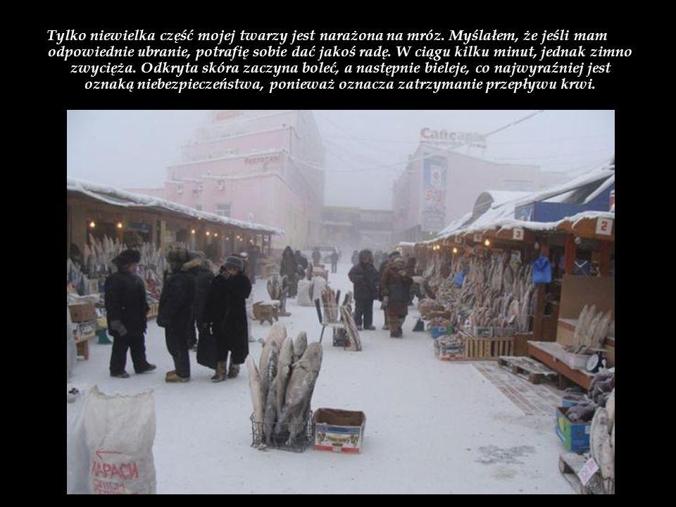 Zanim wyruszyłem po raz pierwszy na ulice Jakucka, zaopatrzyłem się w sporą ilość ciepłych ubrań. Oto, co mam na sobie: skarpetki bawełniane, buty, bi