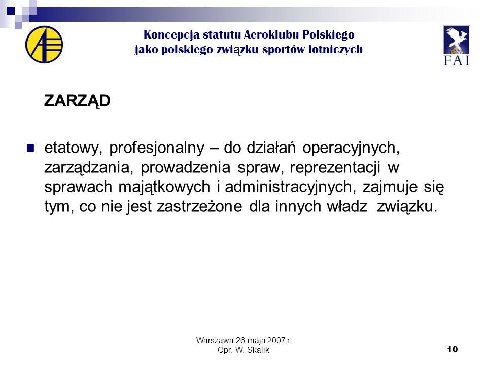 10 Koncepcja statutu Aeroklubu Polskiego jako polskiego zwi ą zku sportów lotniczych ZARZĄD etatowy, profesjonalny – do działań operacyjnych, zarządzania, prowadzenia spraw, reprezentacji w sprawach majątkowych i administracyjnych, zajmuje się tym, co nie jest zastrzeżone dla innych władz związku.