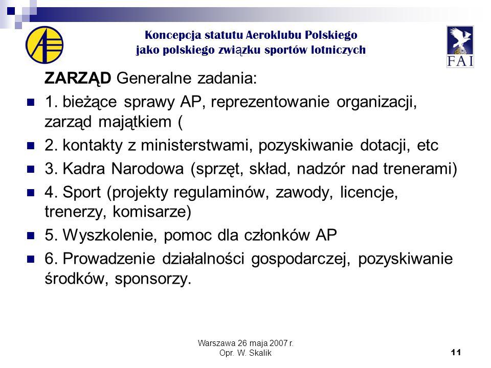 11 Koncepcja statutu Aeroklubu Polskiego jako polskiego zwi ą zku sportów lotniczych ZARZĄD Generalne zadania: 1.