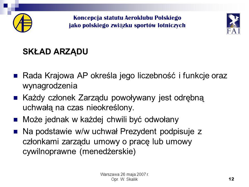 12 Koncepcja statutu Aeroklubu Polskiego jako polskiego zwi ą zku sportów lotniczych SKŁAD ARZĄDU Rada Krajowa AP określa jego liczebność i funkcje oraz wynagrodzenia Każdy członek Zarządu powoływany jest odrębną uchwałą na czas nieokreślony.