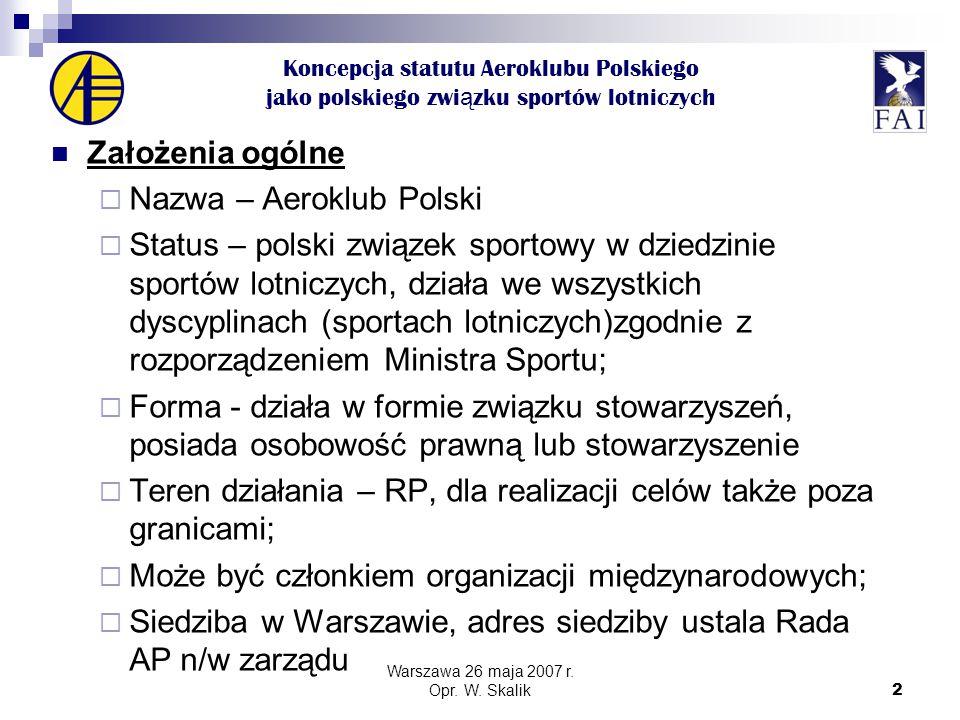 3 Koncepcja statutu Aeroklubu Polskiego jako polskiego zwi ą zku sportów lotniczych Członkostwo Członkowie zwyczajni kluby sportowe w każdej dopuszczalnej prawnie formie, związki stowarzyszeń działające w poszczególnych sportach lotniczych, inne osoby prawne (organizacje) związane z lotnictwem.