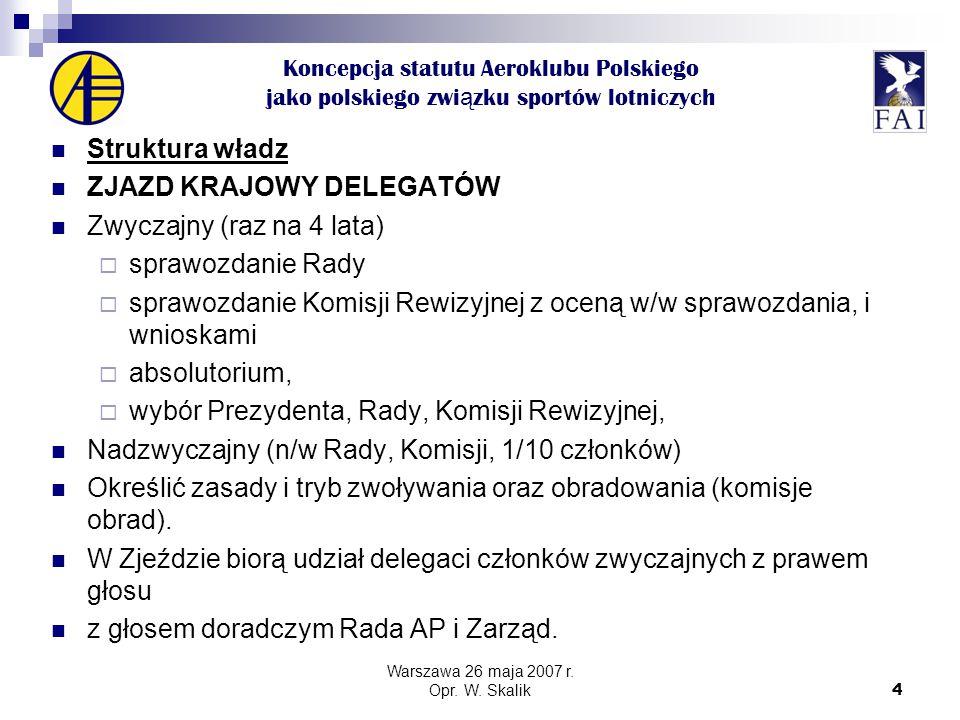 4 Koncepcja statutu Aeroklubu Polskiego jako polskiego zwi ą zku sportów lotniczych Struktura władz ZJAZD KRAJOWY DELEGATÓW Zwyczajny (raz na 4 lata)  sprawozdanie Rady  sprawozdanie Komisji Rewizyjnej z oceną w/w sprawozdania, i wnioskami  absolutorium,  wybór Prezydenta, Rady, Komisji Rewizyjnej, Nadzwyczajny (n/w Rady, Komisji, 1/10 członków) Określić zasady i tryb zwoływania oraz obradowania (komisje obrad).