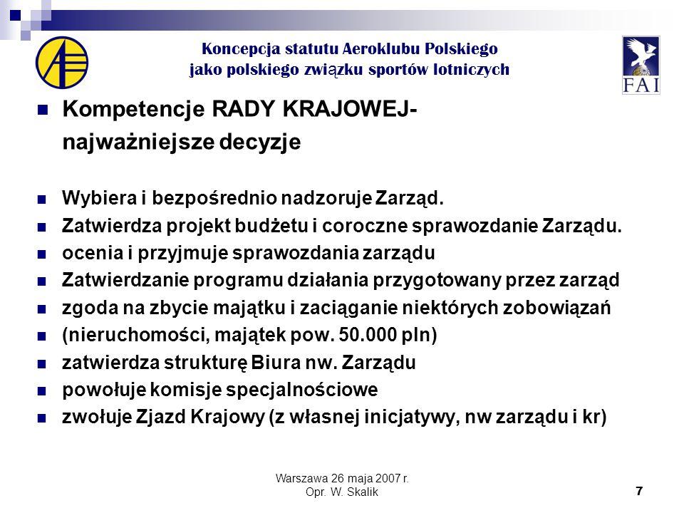 7 Koncepcja statutu Aeroklubu Polskiego jako polskiego zwi ą zku sportów lotniczych Kompetencje RADY KRAJOWEJ- najważniejsze decyzje Wybiera i bezpośrednio nadzoruje Zarząd.
