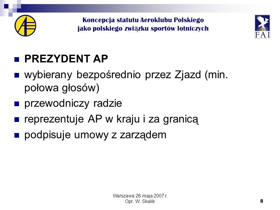 8 Koncepcja statutu Aeroklubu Polskiego jako polskiego zwi ą zku sportów lotniczych PREZYDENT AP wybierany bezpośrednio przez Zjazd (min.