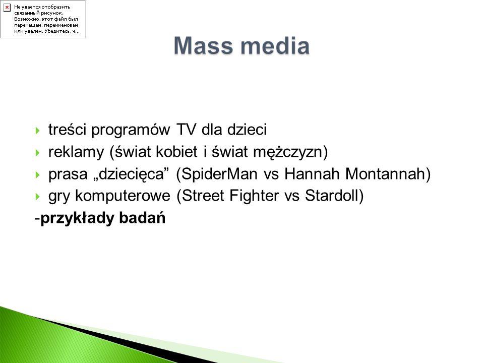 """ treści programów TV dla dzieci  reklamy (świat kobiet i świat mężczyzn)  prasa """"dziecięca"""" (SpiderMan vs Hannah Montannah)  gry komputerowe (Stre"""