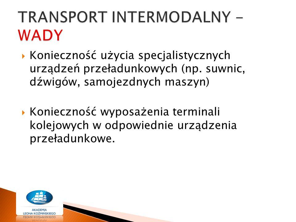  Konieczność użycia specjalistycznych urządzeń przeładunkowych (np. suwnic, dźwigów, samojezdnych maszyn)  Konieczność wyposażenia terminali kolejow