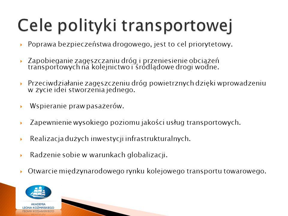  Poprawa bezpieczeństwa drogowego, jest to cel priorytetowy.  Zapobieganie zagęszczaniu dróg i przeniesienie obciążeń transportowych na kolejnictwo