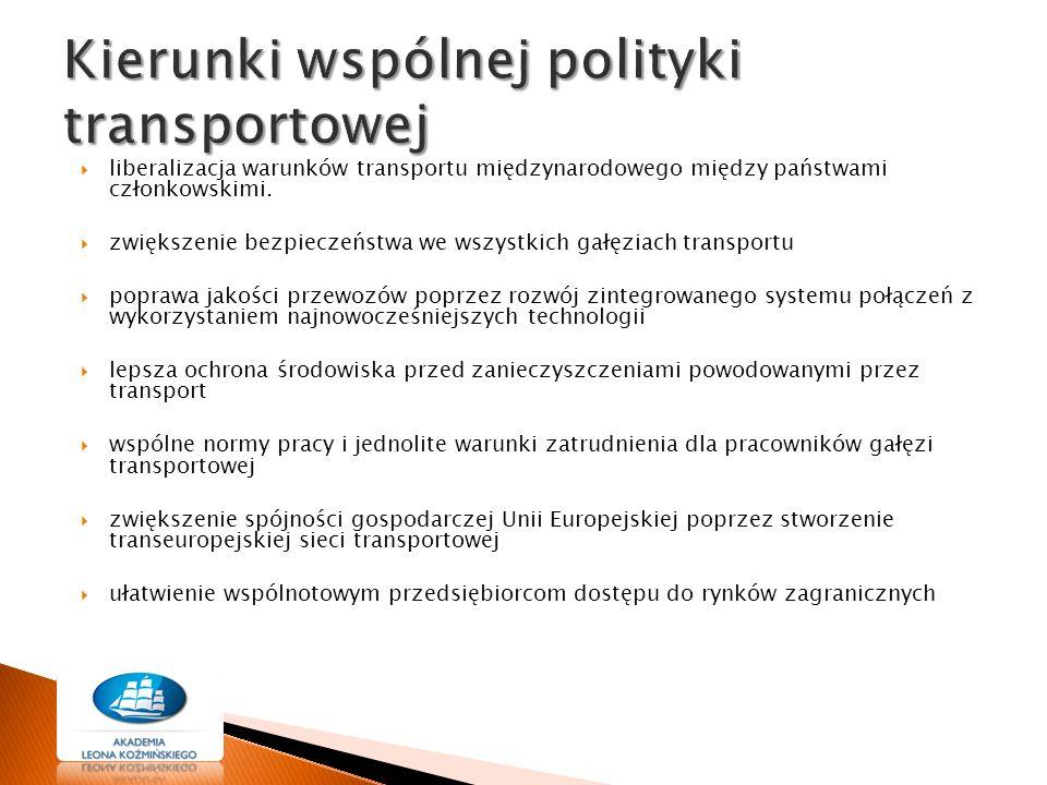  liberalizacja warunków transportu międzynarodowego między państwami członkowskimi.  zwiększenie bezpieczeństwa we wszystkich gałęziach transportu 
