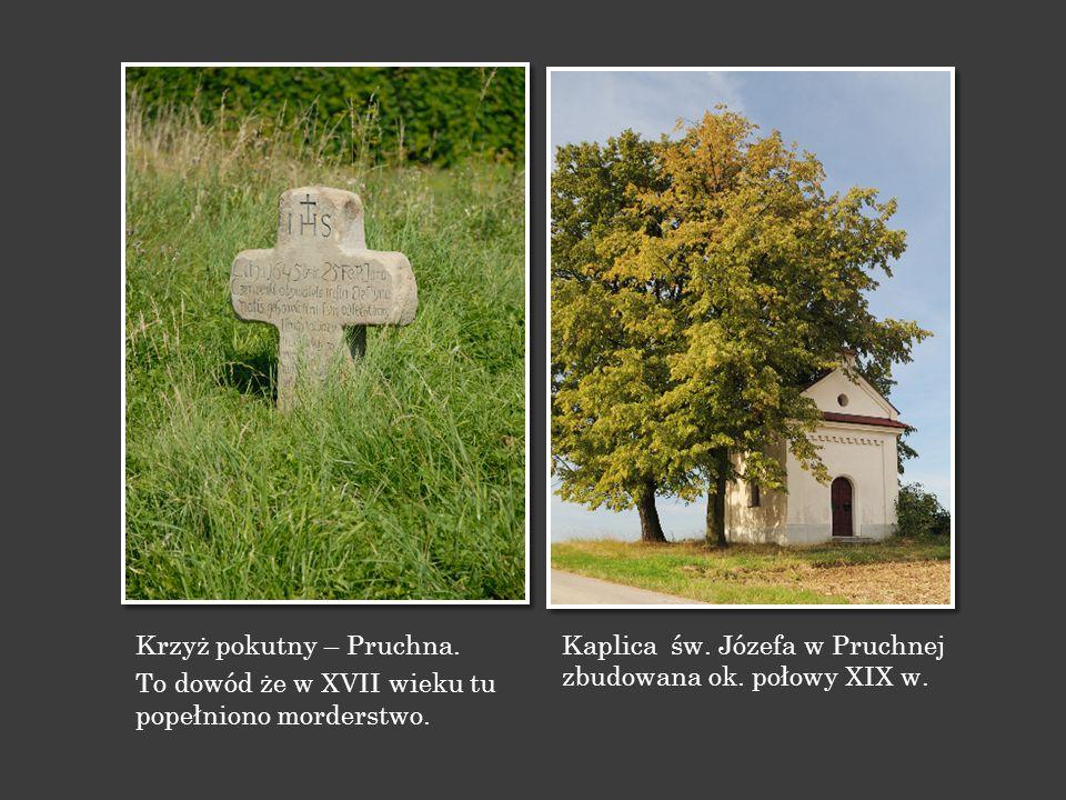 Krzyż pokutny – Pruchna. To dowód że w XVII wieku tu popełniono morderstwo. Kaplica św. Józefa w Pruchnej zbudowana ok. połowy XIX w.