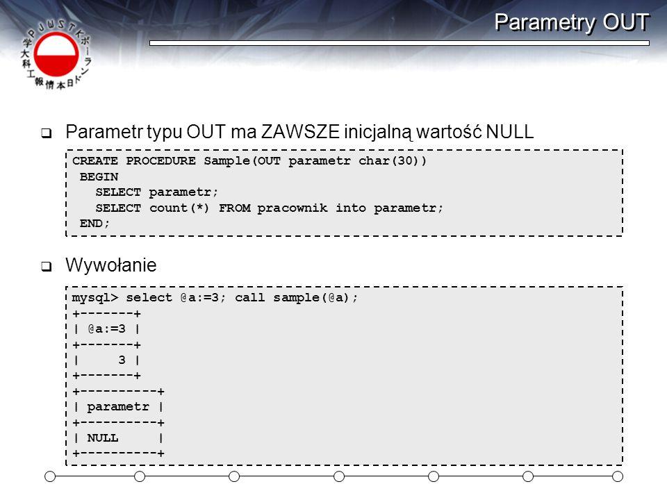 Parametry OUT  Parametr typu OUT ma ZAWSZE inicjalną wartość NULL  Wywołanie CREATE PROCEDURE Sample(OUT parametr char(30)) BEGIN SELECT parametr; SELECT count(*) FROM pracownik into parametr; END; mysql> select @a:=3; call sample(@a); +-------+ | @a:=3 | +-------+ | 3 | +-------+ +----------+ | parametr | +----------+ | NULL | +----------+