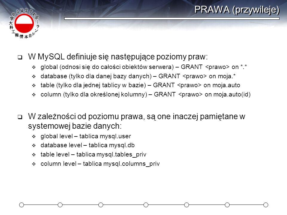PRAWA (przywileje)  W MySQL definiuje się następujące poziomy praw:  global (odnosi się do całości obiektów serwera) – GRANT on *.*  database (tylko dla danej bazy danych) – GRANT on moja.*  table (tylko dla jednej tablicy w bazie) – GRANT on moja.auto  column (tylko dla określonej kolumny) – GRANT on moja.auto(id)  W zależności od poziomu prawa, są one inaczej pamiętane w systemowej bazie danych:  global level – tablica mysql.user  database level – tablica mysql.db  table level – tablica mysql.tables_priv  column level – tablica mysql.columns_priv