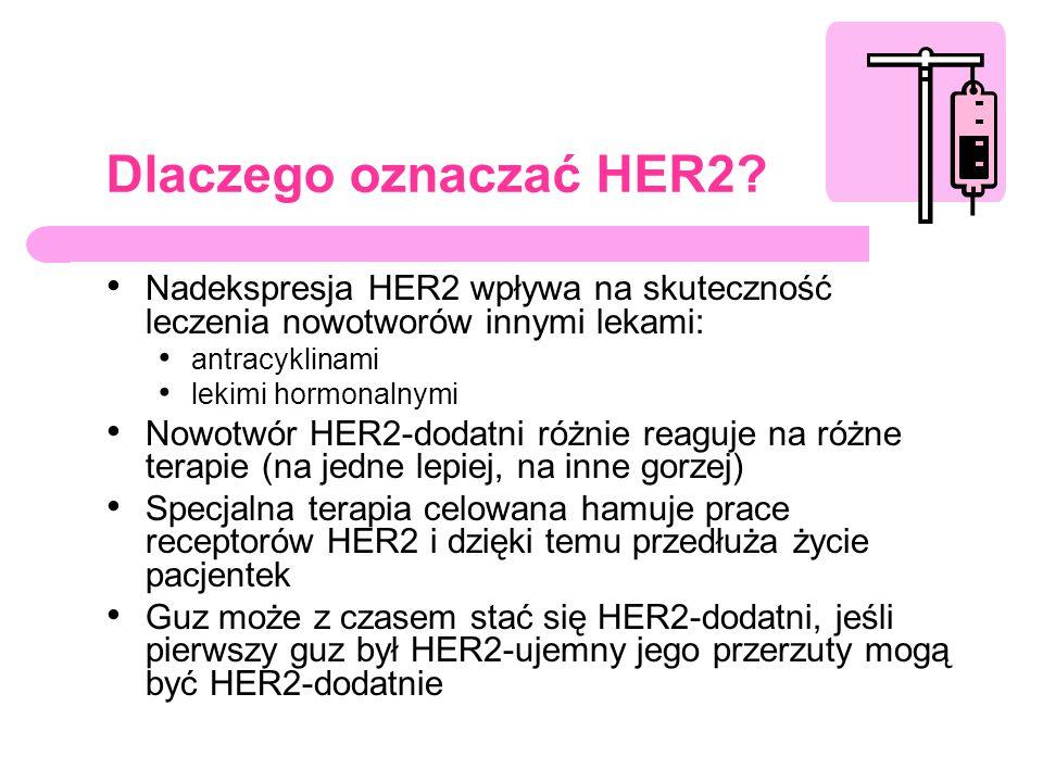 Dlaczego oznaczać HER2? Nadekspresja HER2 wpływa na skuteczność leczenia nowotworów innymi lekami: antracyklinami lekimi hormonalnymi Nowotwór HER2-do