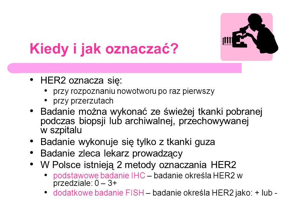 Kiedy i jak oznaczać? HER2 oznacza się: przy rozpoznaniu nowotworu po raz pierwszy przy przerzutach Badanie można wykonać ze świeżej tkanki pobranej p