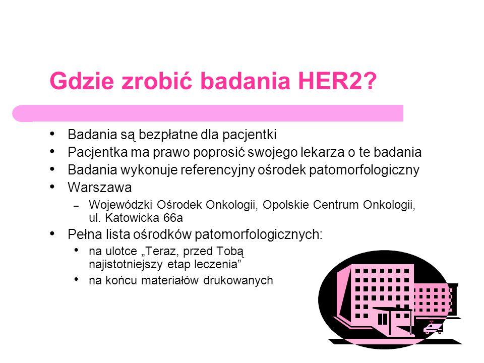 Gdzie zrobić badania HER2? Badania są bezpłatne dla pacjentki Pacjentka ma prawo poprosić swojego lekarza o te badania Badania wykonuje referencyjny o