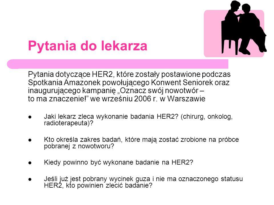 Pytania do lekarza Pytania dotyczące HER2, które zostały postawione podczas Spotkania Amazonek powołującego Konwent Seniorek oraz inaugurującego kampa