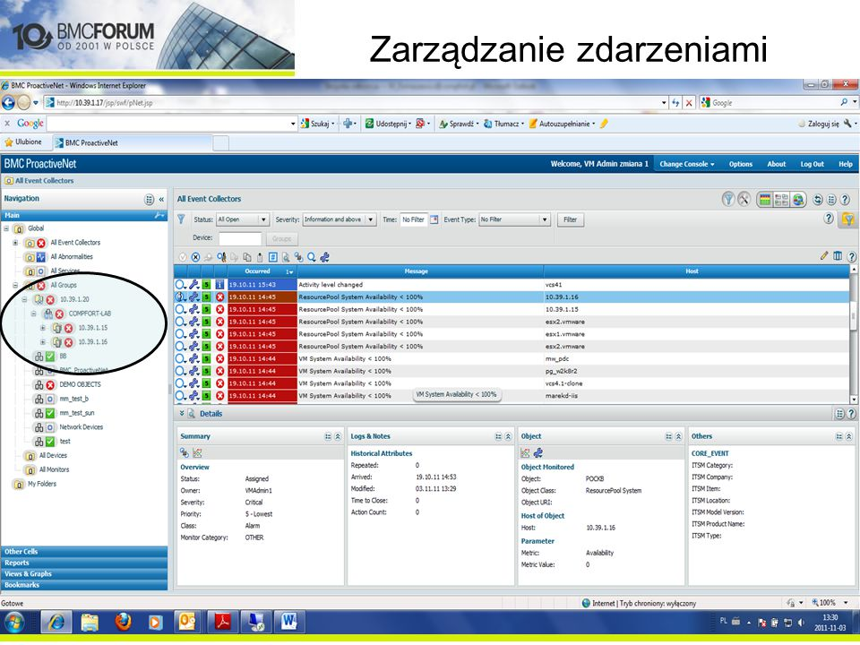 Zarządzanie zdarzeniami Monitoring BMC Performance Manager Agent lub Agentless (BPM and Patrol) Zewnętrzne (adaptery) HP, CA, MOM, SCOM Monitoring sieci BMC Transaction Management Appl Response Time (TMART) Integracja Email, SNMP Remedy Service Desk ESM Konsole HP, CA, IBM, inne BMC Service Impact & Event Management BMC ProactiveNet Analytics Zdarzenia (inteligentne zdarzenia) Zdarzenia ze źródeł zewnętrznych