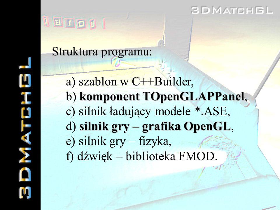 Struktura programu: a) szablon w C++Builder, komponent TOpenGLAPPanel b) komponent TOpenGLAPPanel, c) silnik ładujący modele *.ASE, silnik gry – grafi