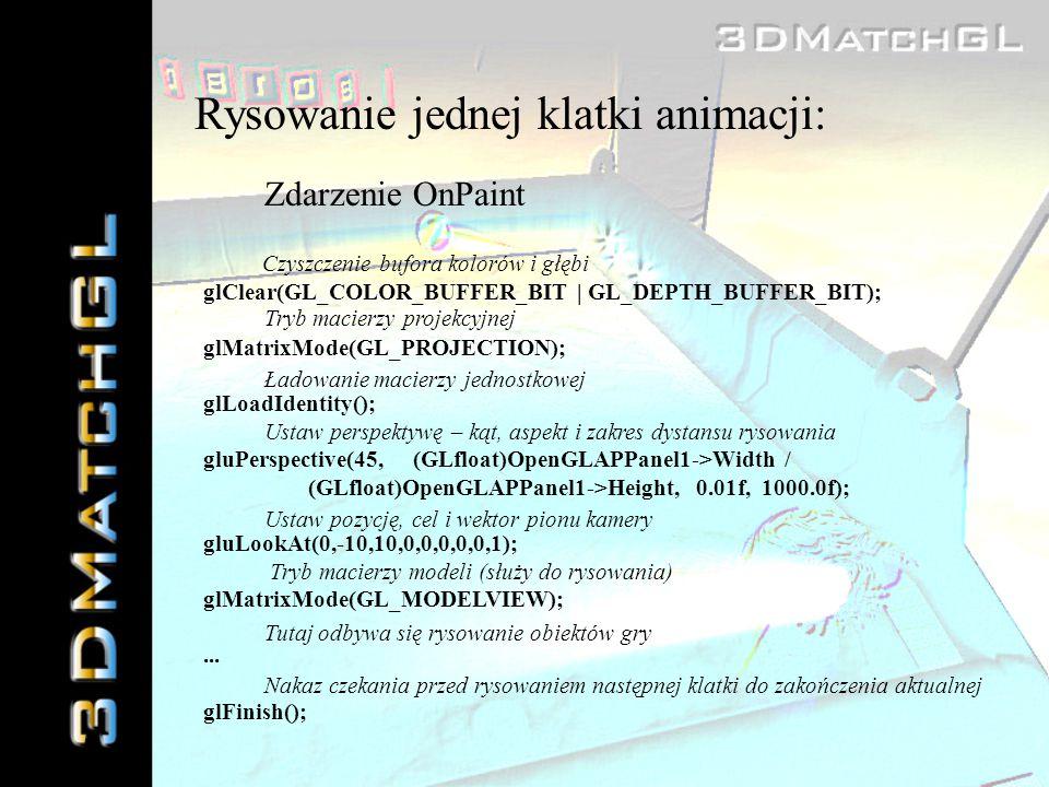 Rysowanie jednej klatki animacji: Zdarzenie OnPaint glClear(GL_COLOR_BUFFER_BIT | GL_DEPTH_BUFFER_BIT); glMatrixMode(GL_PROJECTION); glLoadIdentity();