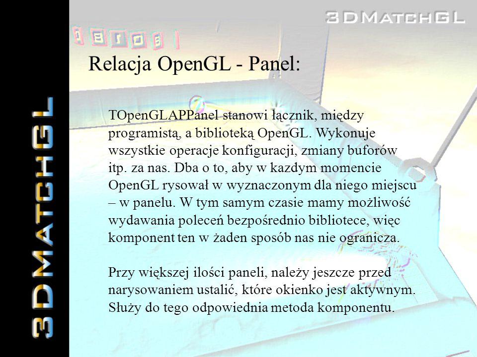 Relacja OpenGL - Panel: TOpenGLAPPanel stanowi łącznik, między programistą, a biblioteką OpenGL. Wykonuje wszystkie operacje konfiguracji, zmiany bufo