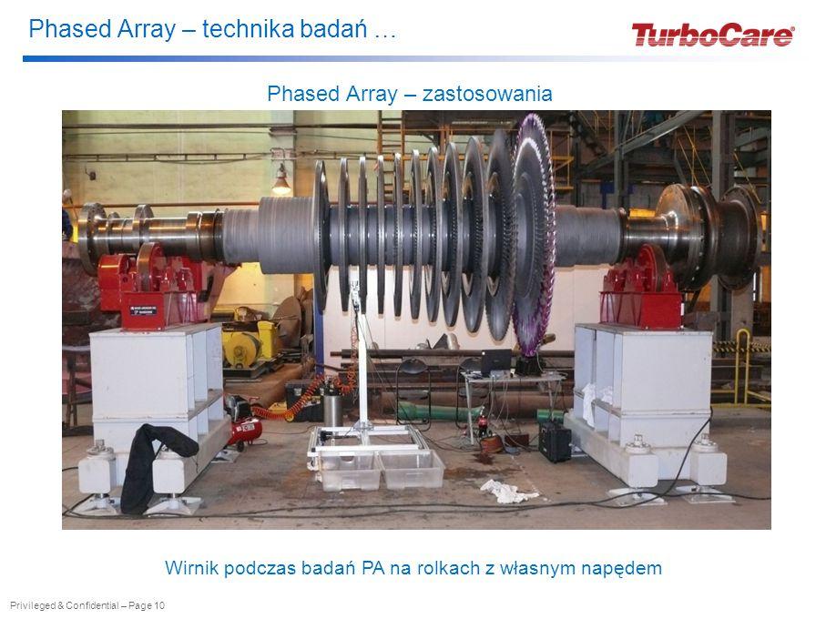 Phased Array – technika badań … Privileged & Confidential – Page 10 Phased Array – zastosowania Wirnik podczas badań PA na rolkach z własnym napędem