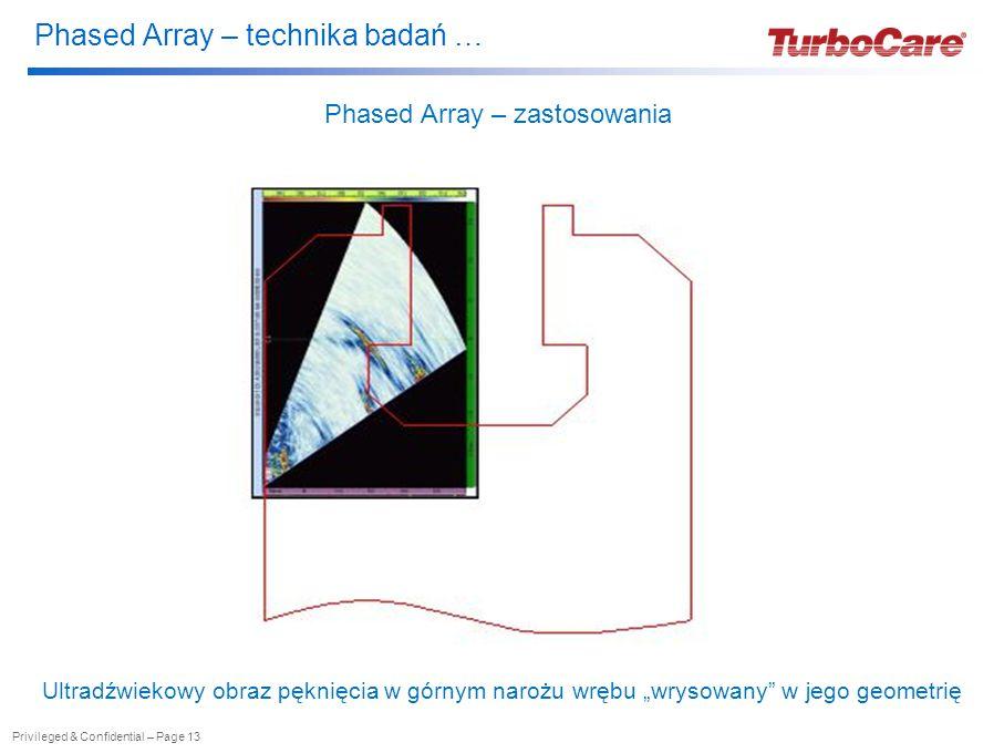 """Phased Array – technika badań … Privileged & Confidential – Page 13 Phased Array – zastosowania Ultradźwiekowy obraz pęknięcia w górnym narożu wrębu """"wrysowany w jego geometrię"""