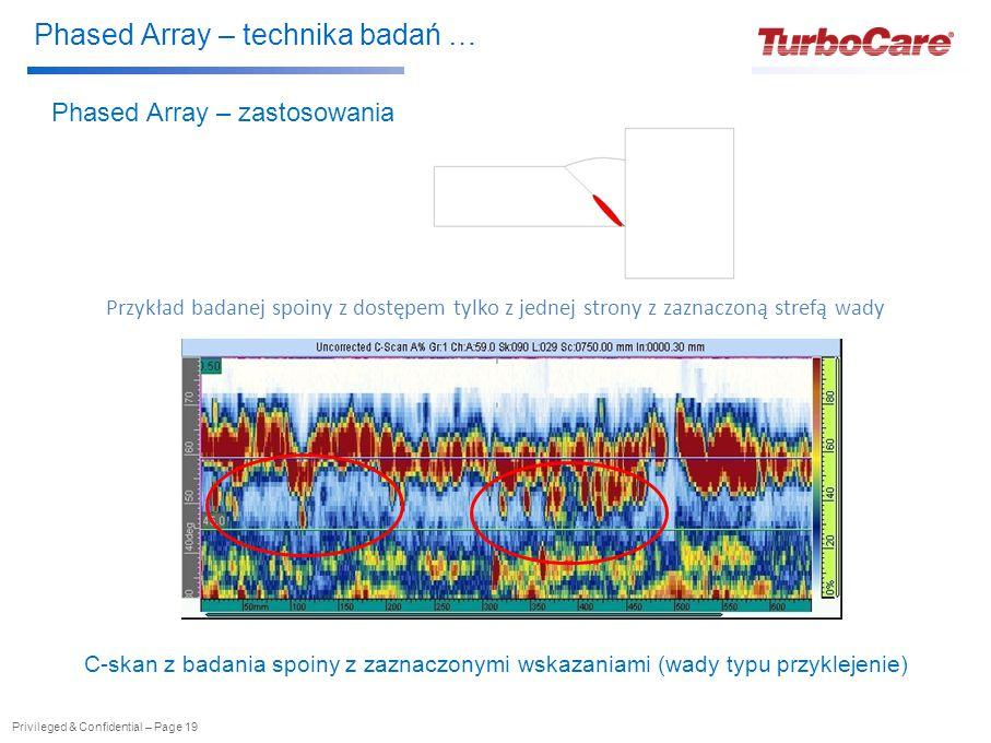 Phased Array – technika badań … Privileged & Confidential – Page 19 Phased Array – zastosowania C-skan z badania spoiny z zaznaczonymi wskazaniami (wady typu przyklejenie) Przykład badanej spoiny z dostępem tylko z jednej strony z zaznaczoną strefą wady