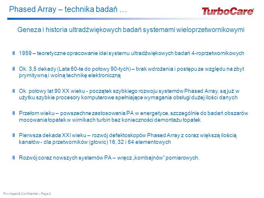 """Phased Array – technika badań … Privileged & Confidential – Page 3 Phased Array – podstawowe informacje Model """"klasycznego przetwornika ultradźwiękowego Model przetwornika ultradźwiękowego Phased Array"""