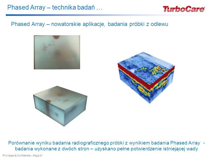 Phased Array – technika badań … Privileged & Confidential – Page 21 Phased Array – nowatorskie aplikacje, badania próbki z odlewu Porównanie wyniku badania radiograficznego próbki z wynikiem badania Phased Array - badania wykonane z dwóch stron – uzyskano pełne potwierdzenie istniejącej wady