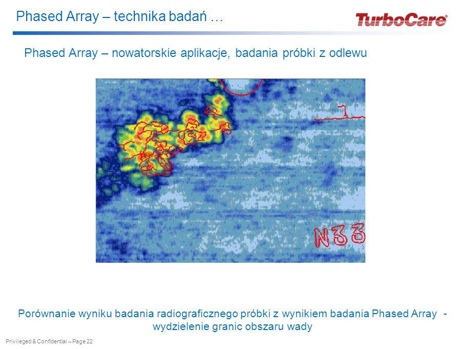 Phased Array – technika badań … Privileged & Confidential – Page 22 Phased Array – nowatorskie aplikacje, badania próbki z odlewu Porównanie wyniku badania radiograficznego próbki z wynikiem badania Phased Array - wydzielenie granic obszaru wady