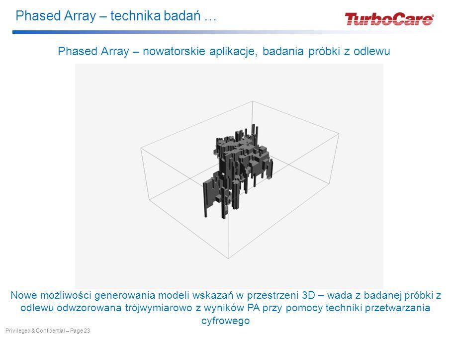 Phased Array – technika badań … Privileged & Confidential – Page 23 Phased Array – nowatorskie aplikacje, badania próbki z odlewu Nowe możliwości generowania modeli wskazań w przestrzeni 3D – wada z badanej próbki z odlewu odwzorowana trójwymiarowo z wyników PA przy pomocy techniki przetwarzania cyfrowego