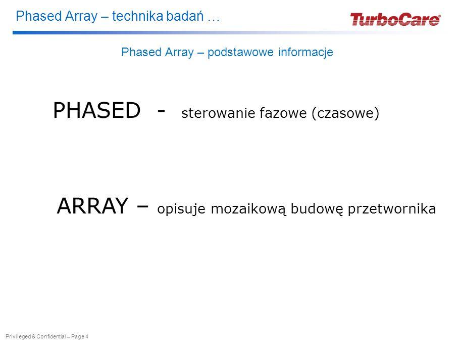 Phased Array – technika badań … Privileged & Confidential – Page 4 Phased Array – podstawowe informacje PHASED - sterowanie fazowe (czasowe) ARRAY – opisuje mozaikową budowę przetwornika