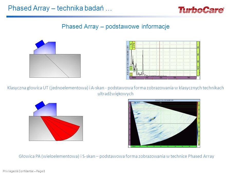 Phased Array – technika badań … Privileged & Confidential – Page 6 Phased Array – podstawowe informacje Klasyczna głowica UT (jednoelementowa) i A-skan - podstawowa forma zobrazowania w klasycznych technikach ultradźwiękowych Głowica PA (wieloelementowa) i S-skan – podstawowa forma zobrazowania w technice Phased Array