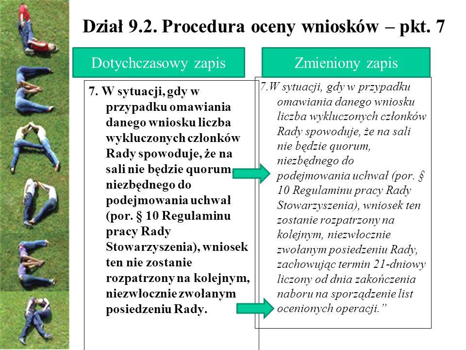 Dział 9.2. Procedura oceny wniosków – pkt.