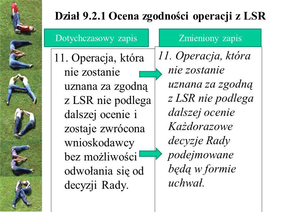 Dział 9.2.1 Ocena zgodności operacji z LSR 11.