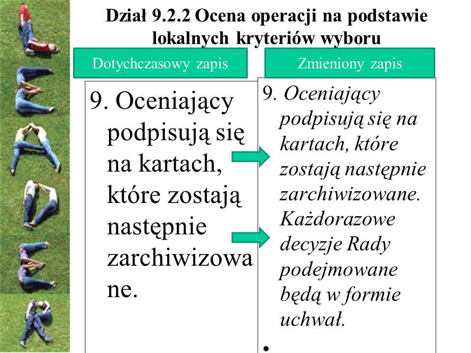 Dział 9.2.2 Ocena operacji na podstawie lokalnych kryteriów wyboru 9.