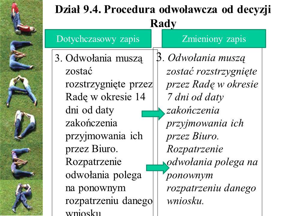Dział 9.4. Procedura odwoławcza od decyzji Rady 3.