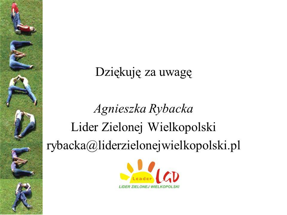 Dziękuję za uwagę Agnieszka Rybacka Lider Zielonej Wielkopolski rybacka@liderzielonejwielkopolski.pl