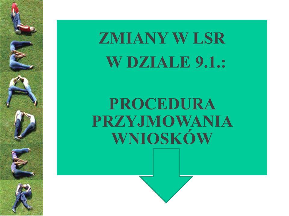 Dział 9.1.Procedura przyjmowania wniosków Brak zapisu Dodaje się nowy punkt 1.