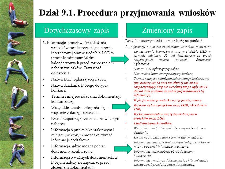 Dział 9.1. Procedura przyjmowania wniosków Dotychczasowy punkt 1 zmienia się na punkt 2: 2.