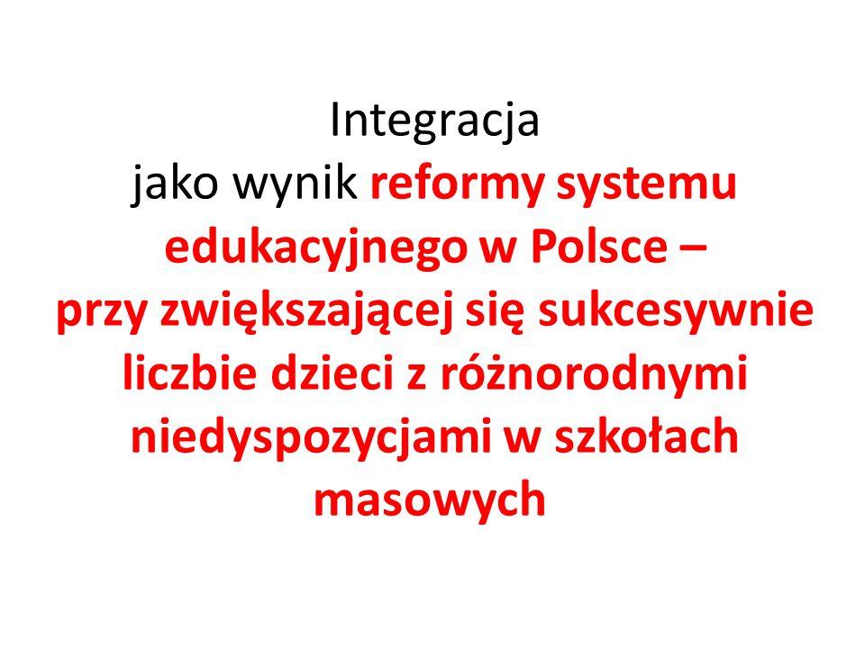 Integracja jako wynik reformy systemu edukacyjnego w Polsce – przy zwiększającej się sukcesywnie liczbie dzieci z różnorodnymi niedyspozycjami w szkoł